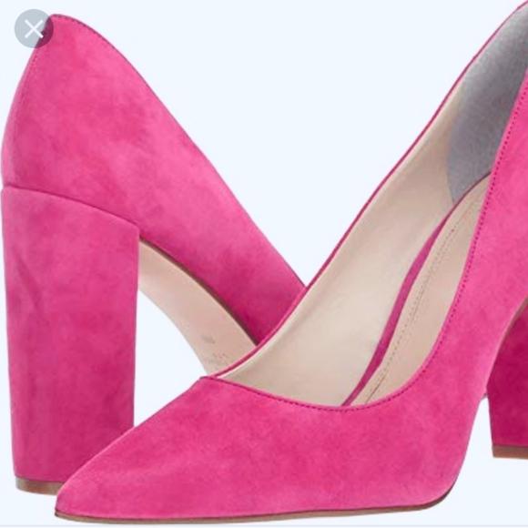 dark pink block heels